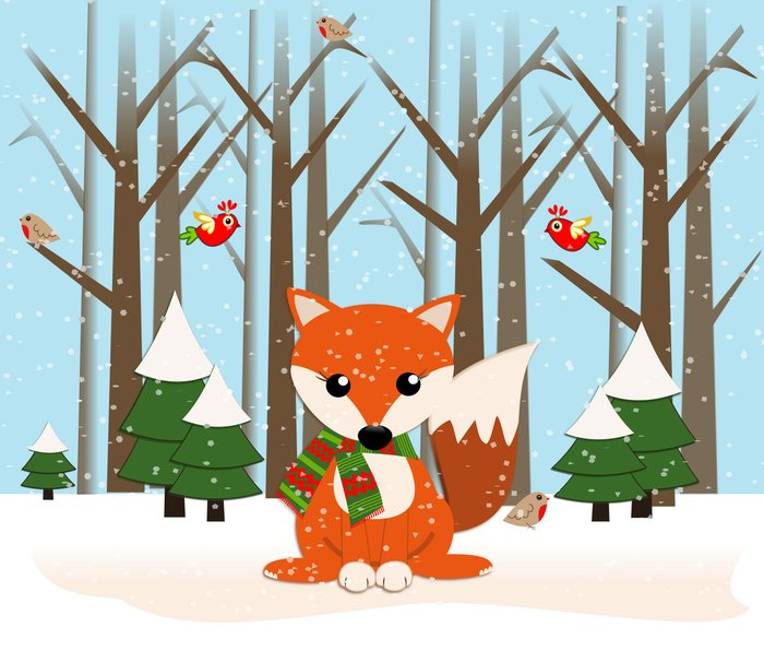 Cute winter fox with a red / green scarf, Metal Travel Mug