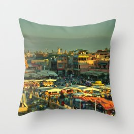 The marketplace of Marrakesh Throw Pillow