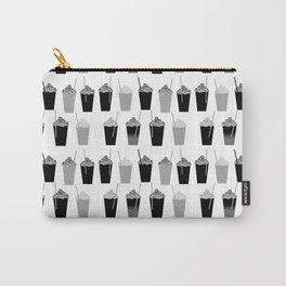 Coffees - black and white iced coffee pattern print cafe mocha chocolate dessert sugar sweet minimal Carry-All Pouch