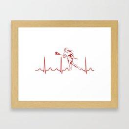 LACROSSE WOMAN HEARTBEAT Framed Art Print