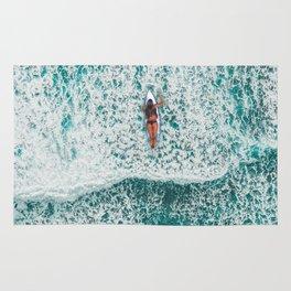 Girl Surfing Rug