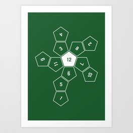 Green Unrolled D12 Art Print