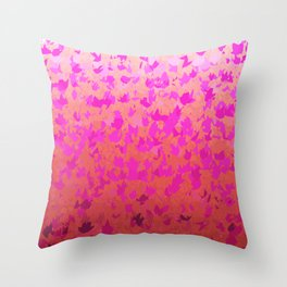 Foliage Gradient in Shades of Pink Throw Pillow