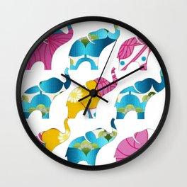 Vintage Pink Floral & Blue Elephant Print Wall Clock