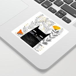 black cat with botanical illustration Sticker