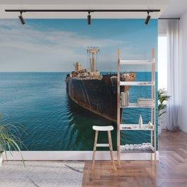 Ahoy Mateys, Aerial Print, Shipwreck Print, Art Print, Modern Wall Art, Sea Print, Ocean Print Wall Mural
