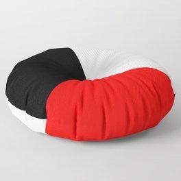Basic Bold Red, Black and White Digital Illustration - Modern Artwork Floor Pillow