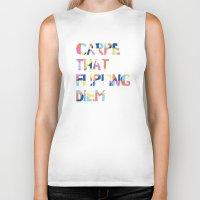 carpe diem Biker Tanks featuring Carpe Diem by Little Joy Designs