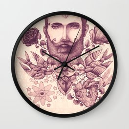beard & tattoo Wall Clock