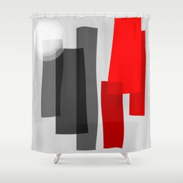 A Place I Remember - Abstract - Black, Gray, Red, White Shower Curtain