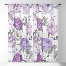 Elegant Girly Violet Lilac Purple Flowers Sheer Curtain