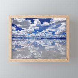 Salar de Uyuni, Bolivia Salt Flats Mirrored Lake with clouds color photography / photographs Framed Mini Art Print
