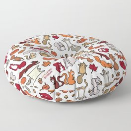 Squirrels in Fall Doodle Floor Pillow
