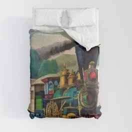 1870 Currier & Ives Steam Locomotive - The Express Train Lithograph Comforters