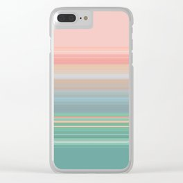 Peaches and Mint Stripe Design Clear iPhone Case