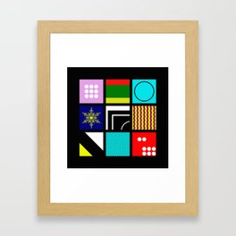 Eclectic 1 - Random collage of 9 bold colourful patterns in an abstract style Framed Art Print