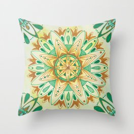 Simple Green/Yellow Mandala Throw Pillow