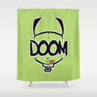 doom Shower Curtains featuring DOOM by Oddworld Art