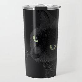 Black cat in the dark Travel Mug