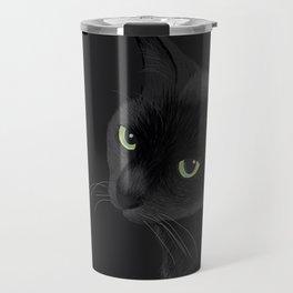 Black cat in the dark Travel Mug