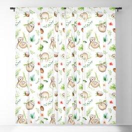 Tropical Sloths Pattern Blackout Curtain