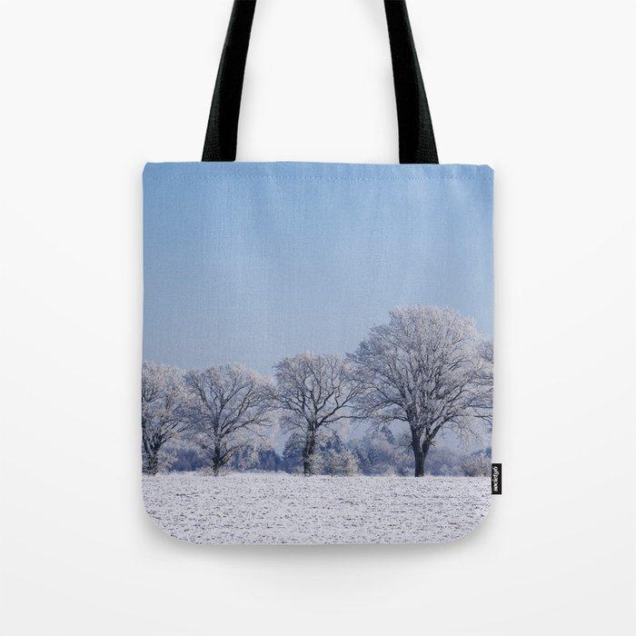 winter walk rural snow landscpape north Germany Tote Bag