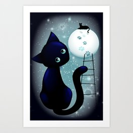 Blue Kitty Dream on the Moon Art Print