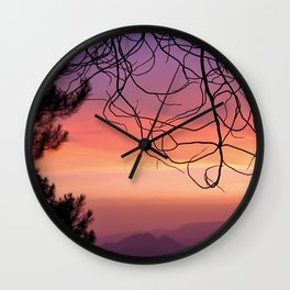 Purple sunset. At the woods Wall Clock