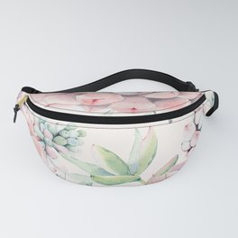Pink Succulents on Cream Fanny Pack