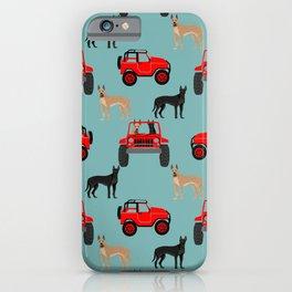 Great Dane jeep car dog breed pattern custom pet portrait iPhone Case