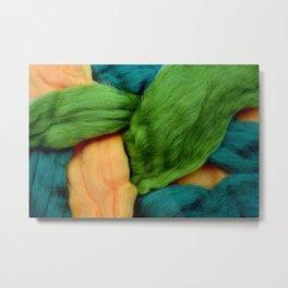 Felting Wool Abstract In Greens And Orange Metal Print