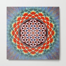 Flower Of Live - Red Lotus Metal Print