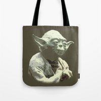 yoda Tote Bags featuring Yoda by DisPrints
