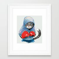 boxing Framed Art Prints featuring Boxing Cat by Tummeow