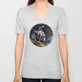 Skeleton Riding a Pale Horse Unisex V-Neck