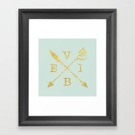 VIBE - Feather Arrow Cross - GOLD Framed Art Print