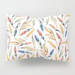 Watercolor seamless pattern with wheat sprouts and colored flowers Pillow Sham