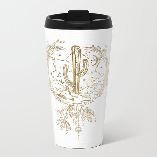 Desert Cactus Dreamcatcher in Gold Metal Travel Mug