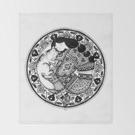 cat & girl mandala Throw Blanket