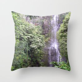 Maui Hawaii - Haleakala National Park Waterfall Throw Pillow