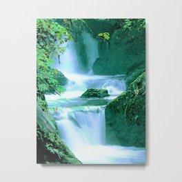 Serene Waterfall in Blue and Green Metal Print