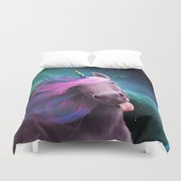 sassy Duvet Covers featuring Sassy Unicorn by Jessica LeClerc Illustration