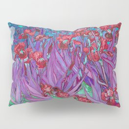 Vincent Van Gogh Irises Painting Cranberry Purple Palette Pillow Sham