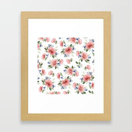 Blush Pink Watercolor Flowers Framed Art Print