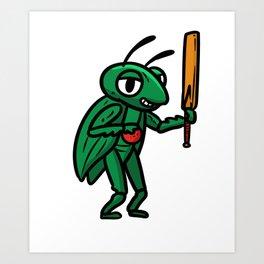 Cricket gift sports punch ball bowler team Art Print