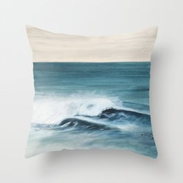 Surfing big waves Throw Pillow