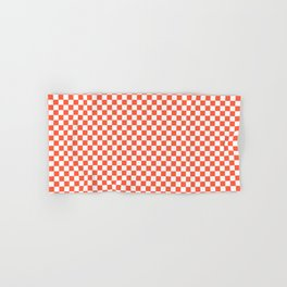 Living Coral Color of the Year in Coral Orange and White Checkerboard Hand & Bath Towel
