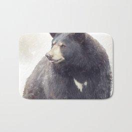 Black Bear portrait watercolor painting Bath Mat