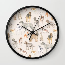 Hound dogs pattern on neutral background Wall Clock