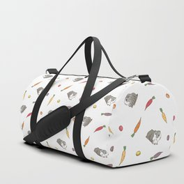 Carrot and Silkie Guinea Pig pattern in White Background Silkie Guinea Pigs illustration Duffle Bag